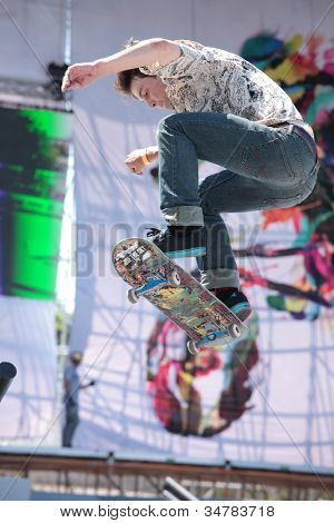MOSCOW, RUSSIA - JULY 8: Markel Andronov, Russia, in skateboarding competitions during Adrenalin Games in Moscow, Russia on July 8, 2012