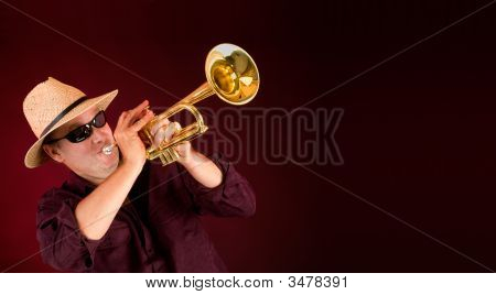 Trumpet Player Trumpeting An Announcement