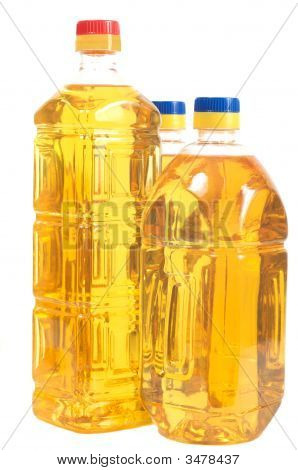 Sunflower Oil In The Three Bottles