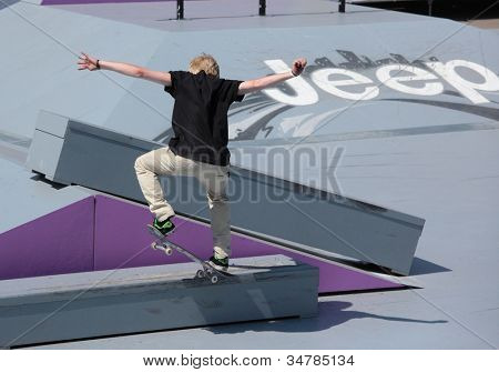 MOSCOW, RUSSIA - JULY 8: Florian Westers, Germany, in skateboard competitions during Adrenalin Games in Moscow, Russia no July 8, 2012