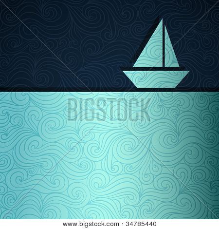 Summer sea banner with sailing boat made of fancy paper, vector eps8 illustration