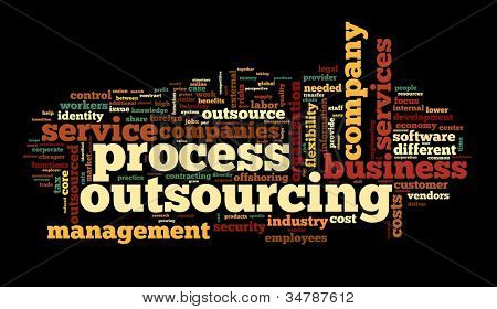 Process outsourcing concept in word tag cloud on black background
