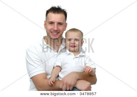 Father And Son Wearing White Smiling