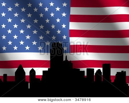 Dallas Skyline With Flag