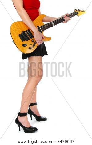 Girl With Guitar Showing Legs
