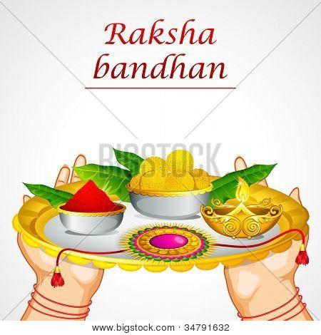 ilustração de exploração de mão de mulher decorado thali para raksha bandhan
