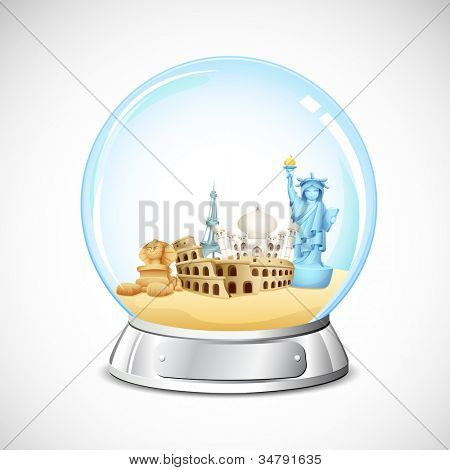illustration of world famous monument in glass globe