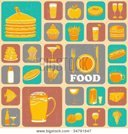 illustration of different food item in collage background
