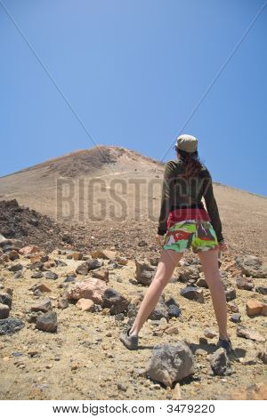 Woman Down The Volcano