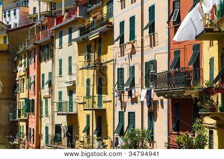 Colorful buildings in Riomaggiore, Cinque, Terre Italy
