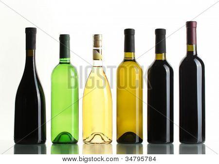 bottles of wine isolated on white