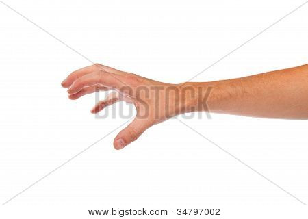 männliche Hand Griff nach etwas auf weiß