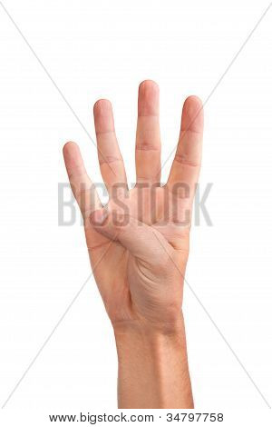Hand Gesture Number Four Closeup Isolated On White
