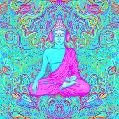Sitting Buddha Over Colorful Neon Background. Vector Illustration. Psychedelic Mushroom Composition. poster