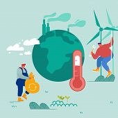 Global Warming Concept. Man Collect Garbage, Worker Set Up Windmills. People Care Of Plants And Eart poster