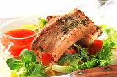 image of pork belly  - Fresh tomato and lemon juice with fried pork belly on lettuce - JPG