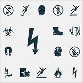 Protection Icons Set With Electrical Hazard, Caution, Boot And Other Nuclear Elements. Isolated Illu poster