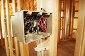 image of 2x4  - Electrical box with wiring in a new home under construction - JPG