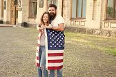 National Holiday. Bearded Hipster And Girl Celebrating. 4th Of July. American Tradition. American Pa poster