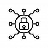 Black Line Icon For Secure-connection Secure Connection Cybersecurity Protection Safeguard Technolog poster