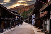 Narai-juku, Japan. Picturesque View Of Old Japanese Town With Traditional Wooden Architecture. Narai poster