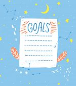 Goals List, Blank Template, Hand Drawn Style. One Paper Sheet With Cute Hand Drawn Stars And Moon De poster