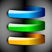 Abstract 3D glossy ribbons in blue, green and yellow color isolated on grey with text space.EPS 10.