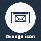 Grunge Line Mail And E-mail Icon Isolated On Grey Background. Envelope Symbol E-mail. Email Message  poster