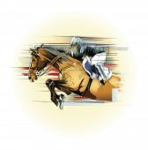 foto of saddle-horse  - Vector illustration  of a jumping horse and jockey - JPG
