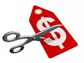 pic of slash  - A pair of scissors cutting through a price tag - JPG
