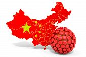 Virus In China, Chinese Virus Concept, 3d Rendering Isolated On White Background poster