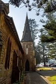 View Of The Bell Tower Of The Magnificent Kiama Scots Presbyterian Church, Built In 1863 In Early En poster