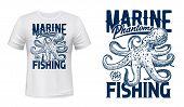 Ocean Octopus T-shirt Print, Vector Mockup. Marine Phantom Underwater Monster, Seafood Fishing Big C poster
