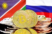 Concept For Investors In Cryptocurrency And Blockchain Technology In The Namibia And Russia. Bitcoin poster
