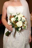 foto of quinceanera  - A wedding bouquet with fresh red and white roses - JPG