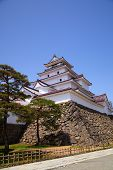 picture of fukushima  - Aizu Wakamatsu Castle and blue sky Fukushima Japan - JPG