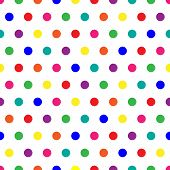 image of dot pattern  - Bright polka dots background in rainbow colors - JPG