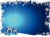 image of christmas-present  - Christmas gifts on a grunge snowflake background - JPG