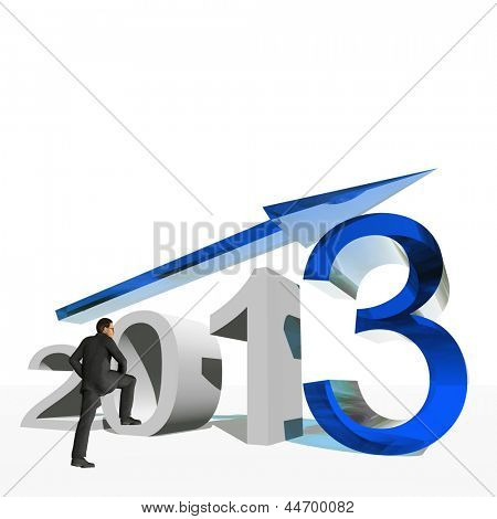 High resolution conceptual 3D 2013 year with a growing arrow isolated on white background with a business man. It is a metaphor for economy, finance, progress,success,improvement,profit designs.