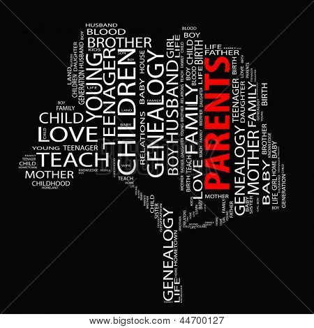 High resolution concept or conceptual white text wordcloud or tagcloud as a tree isolated on black background as a metaphor for child,family,education,life,home,love and school learn or achievement