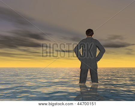 Concept or conceptual Young man or businessman standing or sinking in the sea with waves and a sky at sunset as metaphor to business,crisis,career,manager,finance,risk,depression,problems or failure