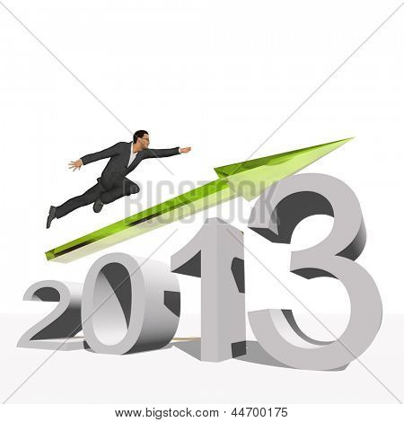 High resolution conceptual 3D 2013 year with a growing arrow isolated on white background with a business man flying. A metaphor for economy, finance, progress,success,improvement,profit designs.