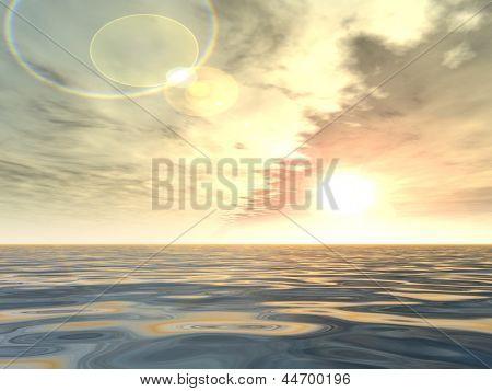 Concepto o trasfondo conceptual de atardecer o amanecer con el sol cerca del horizonte y el mar o el océano como