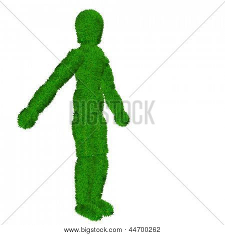 High resolution concept or conceptual 3D human or man covered in green fresh grass or leaves isolated on white background as metaphor to nature,environment,ecology,symbol,eco,bio,organic or friendly