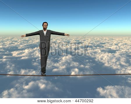 Conceptual concept of businessman or man in crisis walking in balance on rope above  clouds sky background,metaphor to business,danger,risk,risky,finance,fall,dangerous,equilibrium,hazard or success