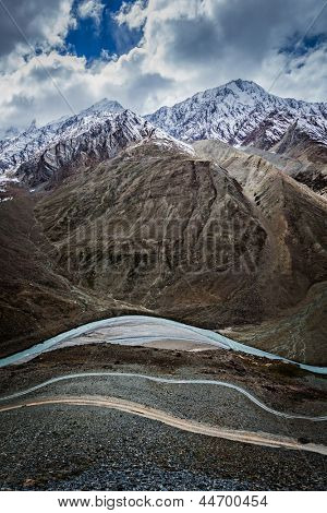 Spiti valley, river, road in Himalayas. Himachal Pradesh, India