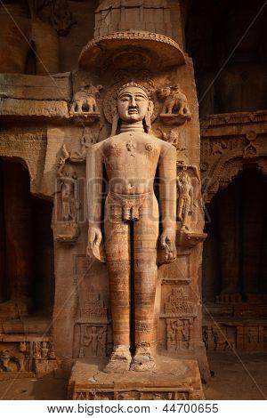 Rockcut Statue of Jain thirthankara in rock niches near Gwalior fort. Gwalior, Madhya Pradesh, India