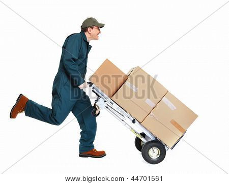 Running delivery postman with box. Isolated on white background.
