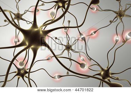 neurônios, transferência de pulsos e geração de informações.