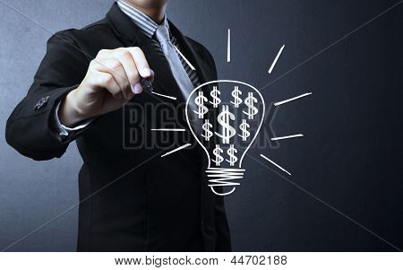 Business man drawing light bulb